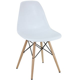 White Plastic Dining Chair with Wooden Base (Option: White)