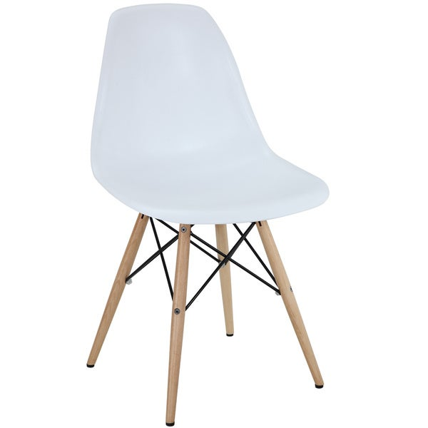 Ordinaire White Plastic Dining Chair With Wooden Base