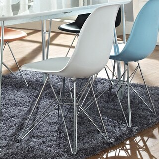 Modway White Plastic Dining Chair with Wire Base