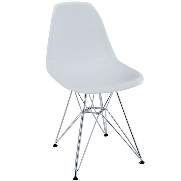 White Plastic Dining Chair with Wire Base