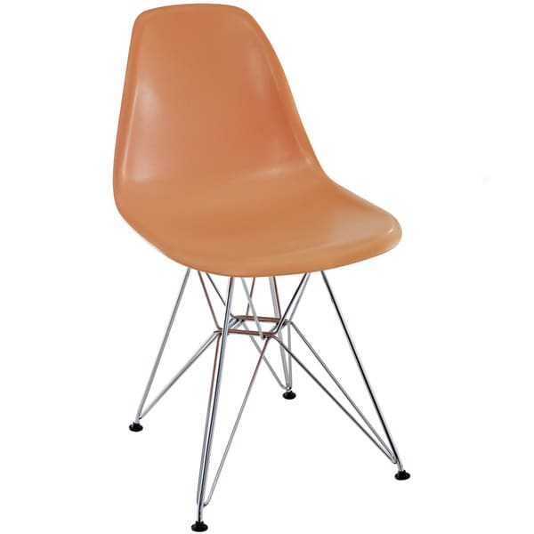 Orange Plastic Dining Chair with Wire Base