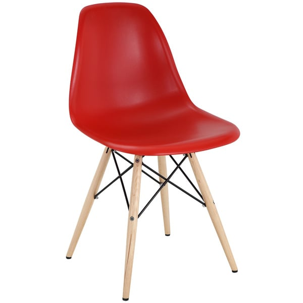 Red Plastic Dining Chair with Wooden Base