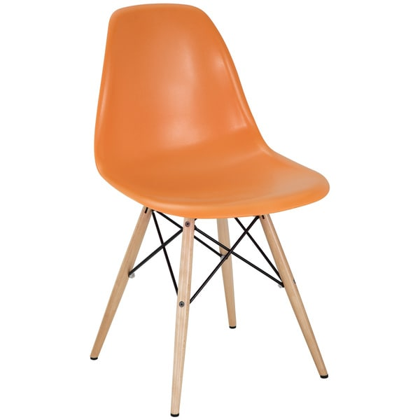 Orange Plastic Dining Chair with Wooden Base
