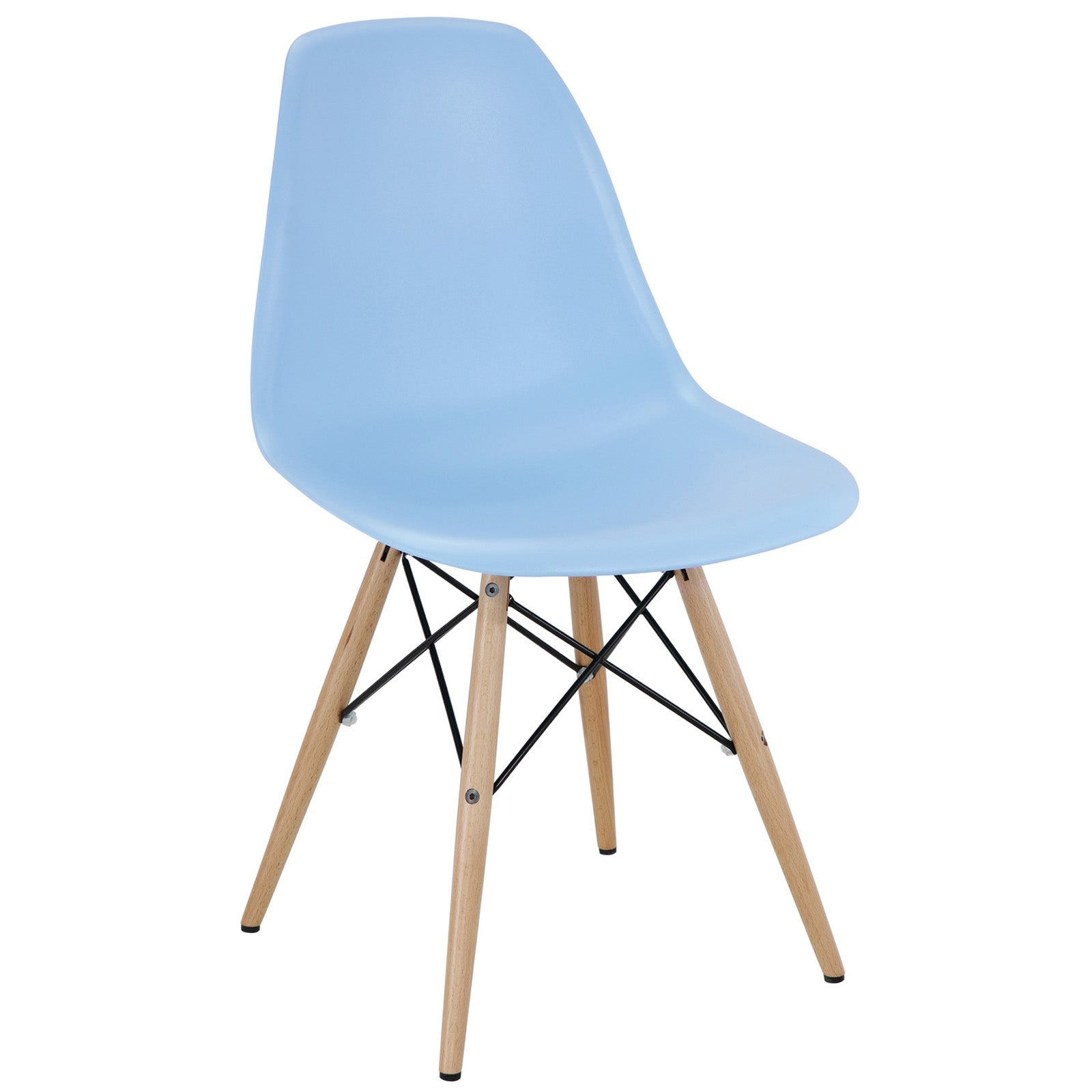 Modway Light Blue Plastic Dining Chair with Wooden Base (...