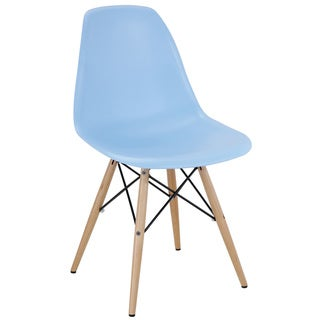 Light Blue Plastic Dining Chair with Wooden Base