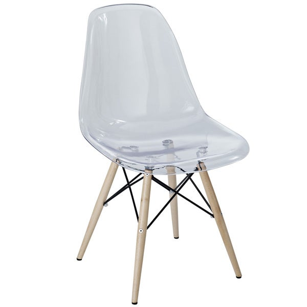 Clear Plastic Side Chair with Wooden Base