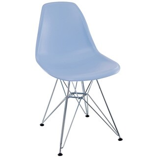 Blue Plastic Dining Chair with Wire Base