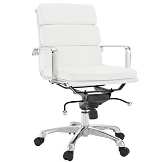City Mid-Back White Vinyl Conference Office Chair