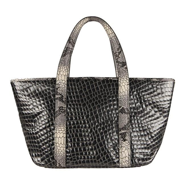 Vintage Reign 'Kiki' Grey Python Embossed Leather Tote Bag