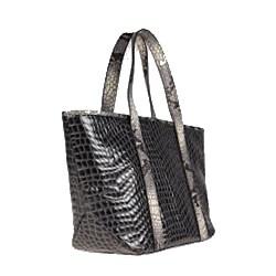 Vintage Reign 'Kiki' Grey Python Embossed Leather Tote Bag - Thumbnail 1