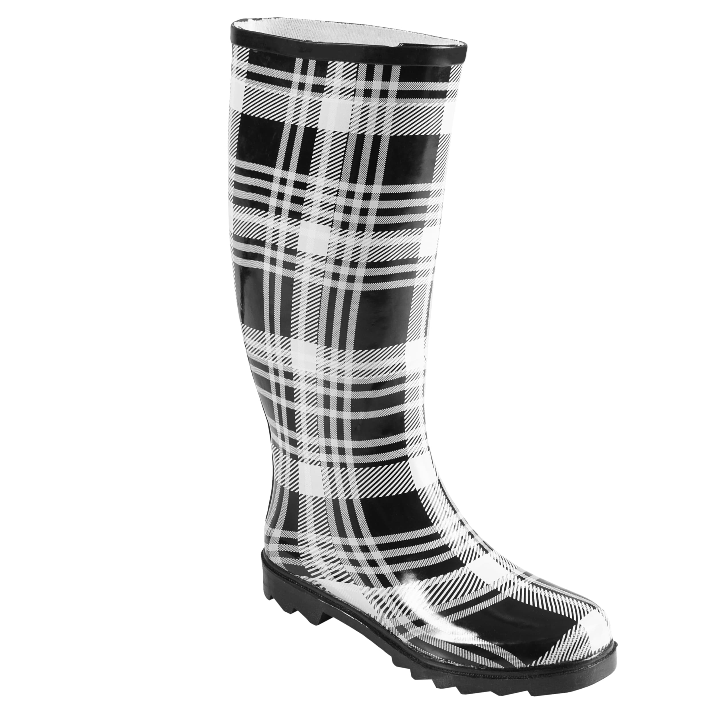 Journee Collection Women's Lined Plaid Rainboots