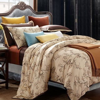 Asian Garden 7-piece Queen Cotton Duvet Cover Set