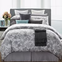 EverRouge White Lotus 7-piece Queen Cotton Duvet Cover Set