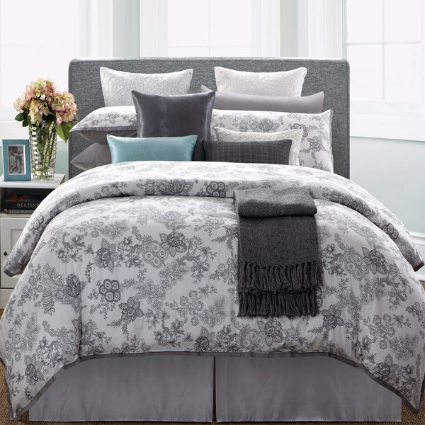 EverRouge White Lotus 7-piece Queen Cotton Duvet Cover Set