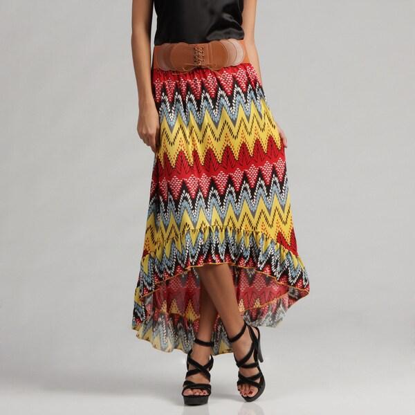 Meetu Magic Wrinkle-resistant Mixed Print Yellow High-low Maxi Skirt