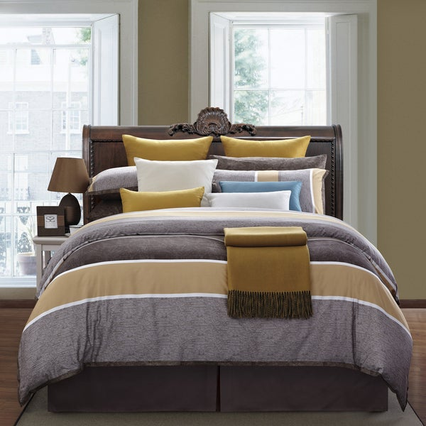 Caramel 8 Piece Queen Size Cotton Comforter Set