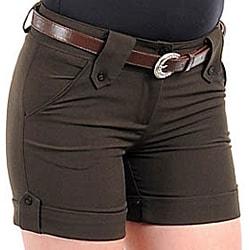 Stanzino Women's Belted Dark Green Camper Shorts - Thumbnail 2