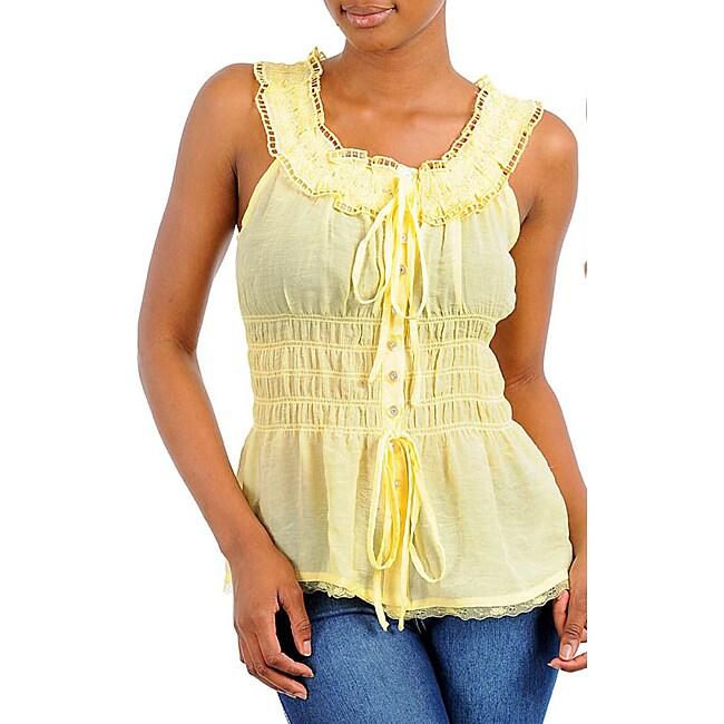Stanzino Women's Yellow Drawstring Sleeveless Top