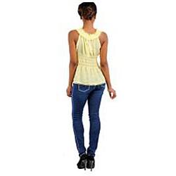 Stanzino Women's Yellow Drawstring Sleeveless Top - Thumbnail 1
