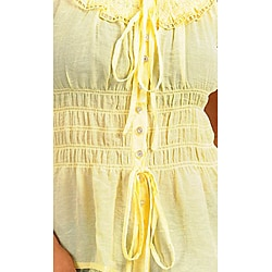 Stanzino Women's Yellow Drawstring Sleeveless Top - Thumbnail 2