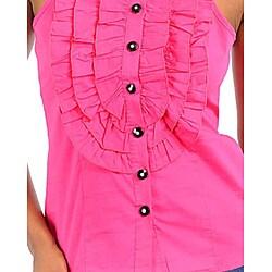 Stanzino Women's Fuschia Ruffled Bib Shirt