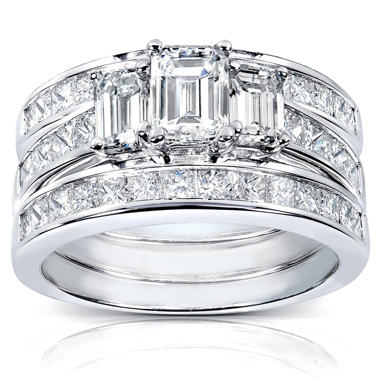 Annello By Kobelli 14k White Gold 2 1 2ct Tdw Diamond 3 Piece Bridal Ring Set
