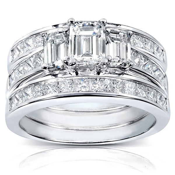 Annello 14k White Gold 2 1/2ct TDW Diamond 3-piece Bridal Ring Set