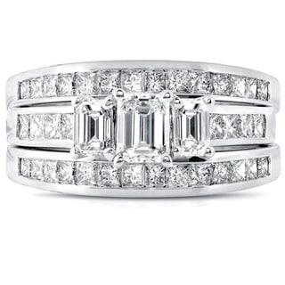 Annello 14k White Gold 2 1/2ct TDW Diamond 3-piece Bridal Ring Set (H-I, SI1-SI2)