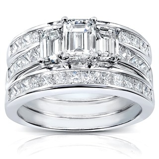 Annello by Kobelli 14k White Gold 2 1/2ct TDW Diamond 3-piece Bridal Ring Set (H-I, SI1-S