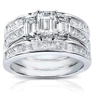 Annello by Kobelli 14k White Gold 2 1/2ct TDW Diamond 3-piece Bridal Ring Set
