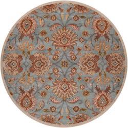 Hand-tufted Blue Kipper Wool Rug (4' Round)