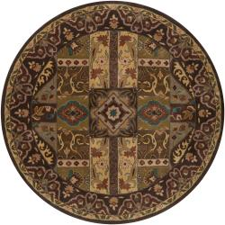 Hand-tufted Brown Kipper Wool Rug (4' Round)