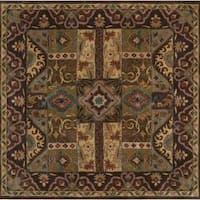 Hand-tufted Brown Kipper Wool Area Rug (6' Square)