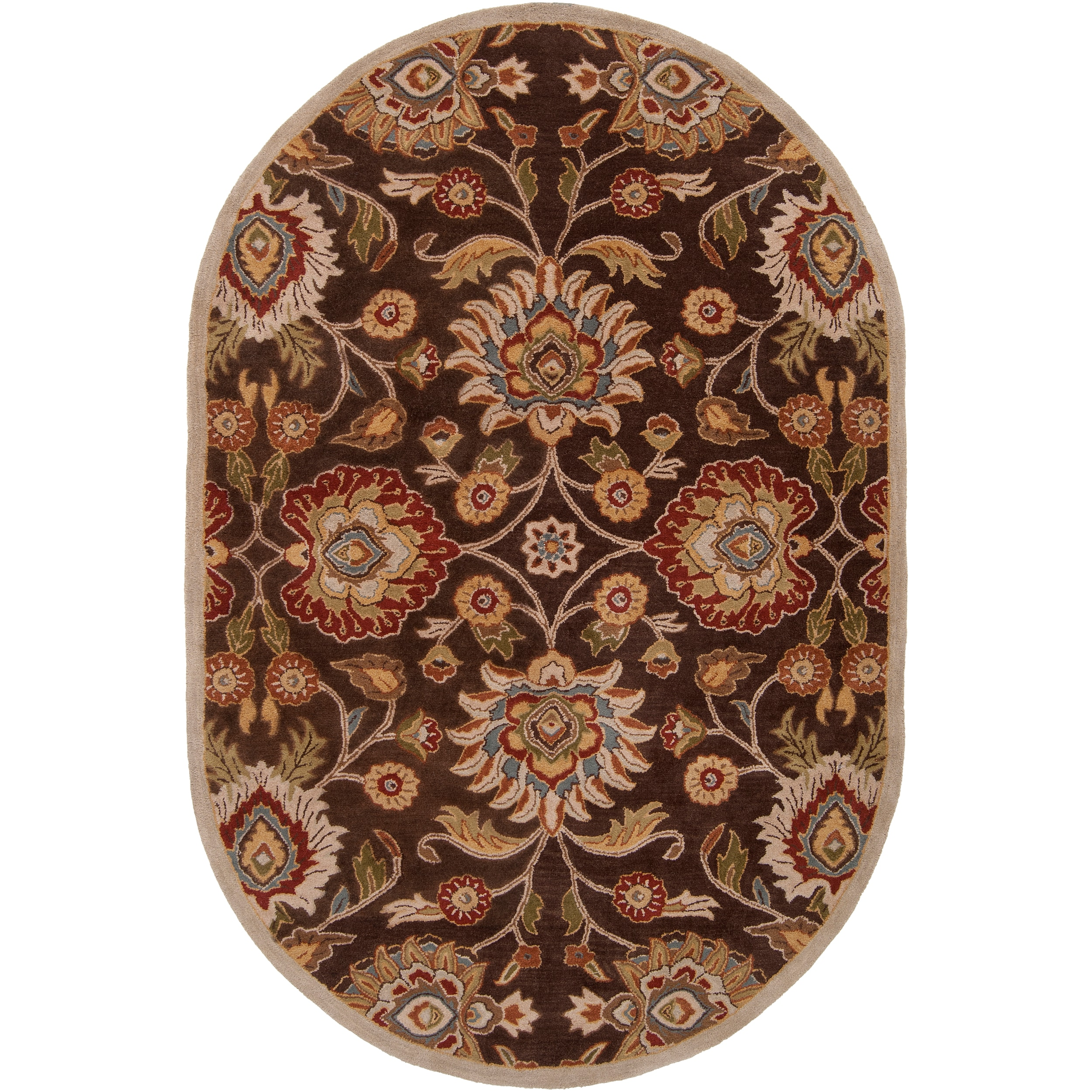 Hand-tufted Brown Kipper Wool Rug (6' x 9' Oval)