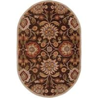 Hand-tufted Brown Kipper Wool Area Rug (8' x 10' Oval)