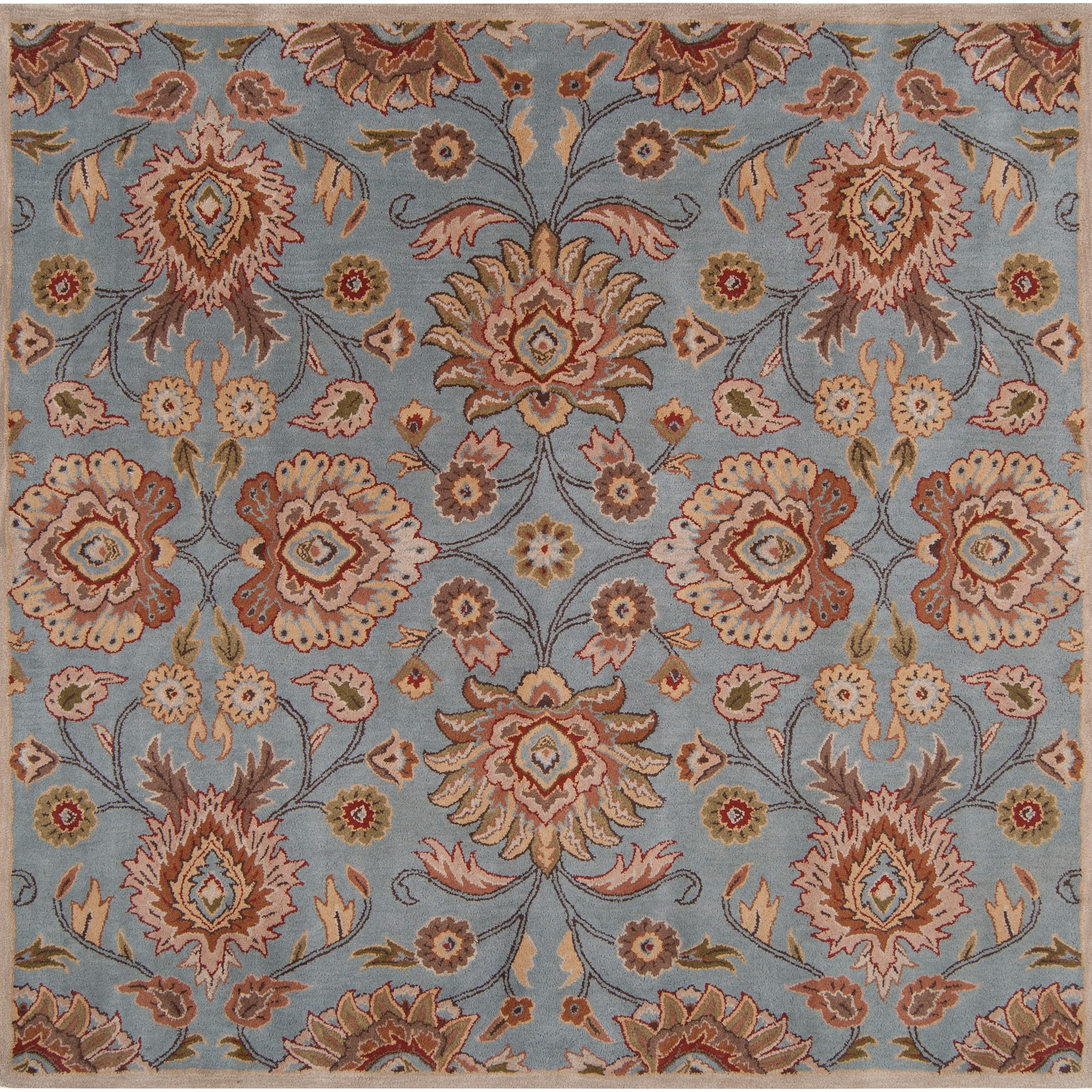 Hand-tufted Blue Kipper Wool Rug (4' Square)
