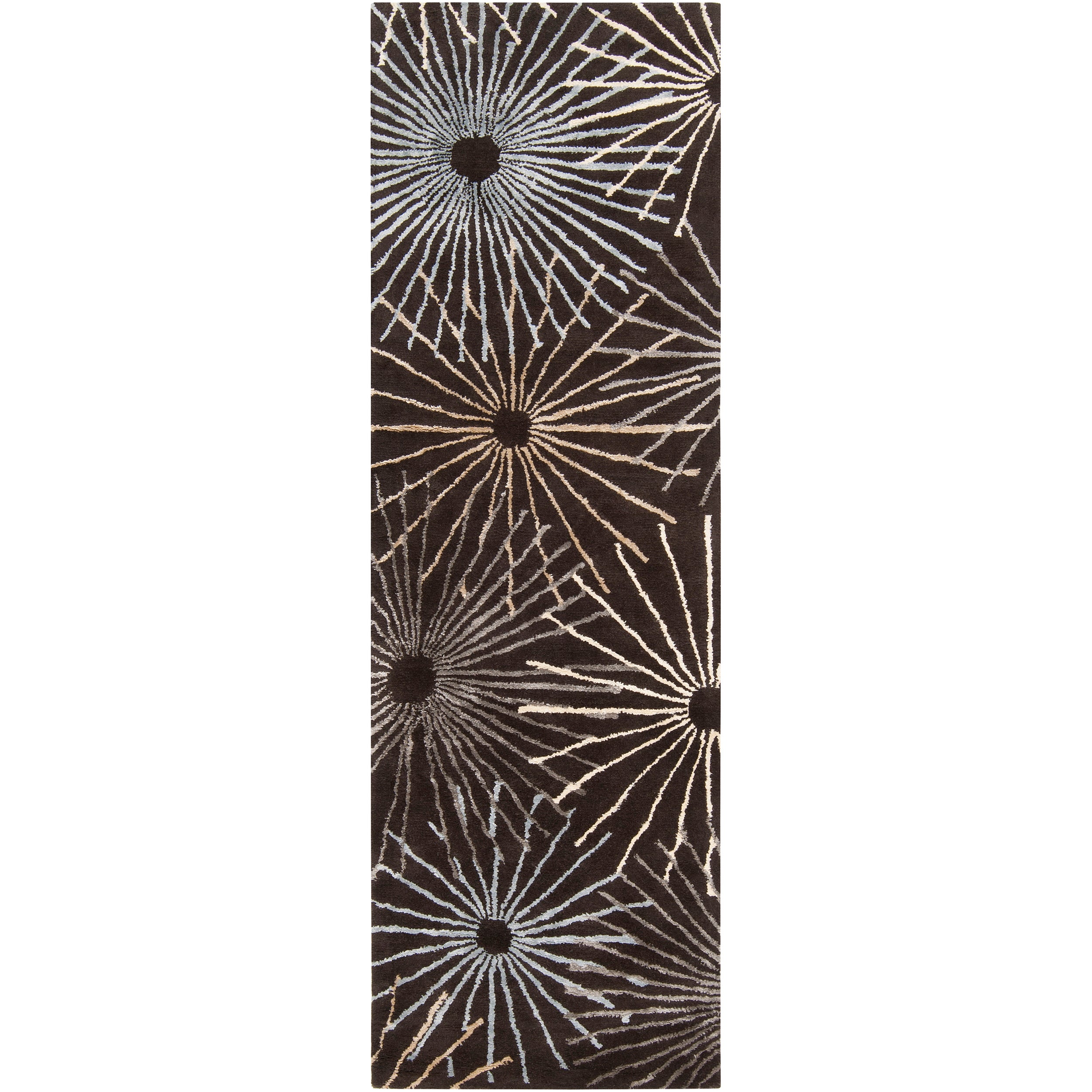 Hand-tufted Brown Essence New Zealand Wool/ Viscose Rug (2'6 x8')