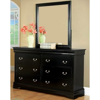 Furniture of America Marikina Black Dresser with Mirror
