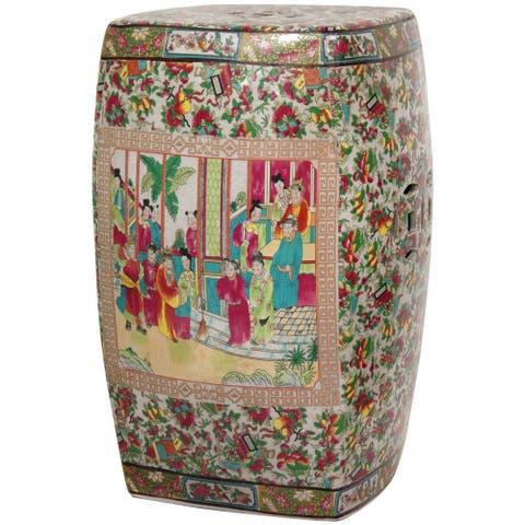 """Handmade 18"""" Porcelain Rose Medallion Square Garden Stool"""