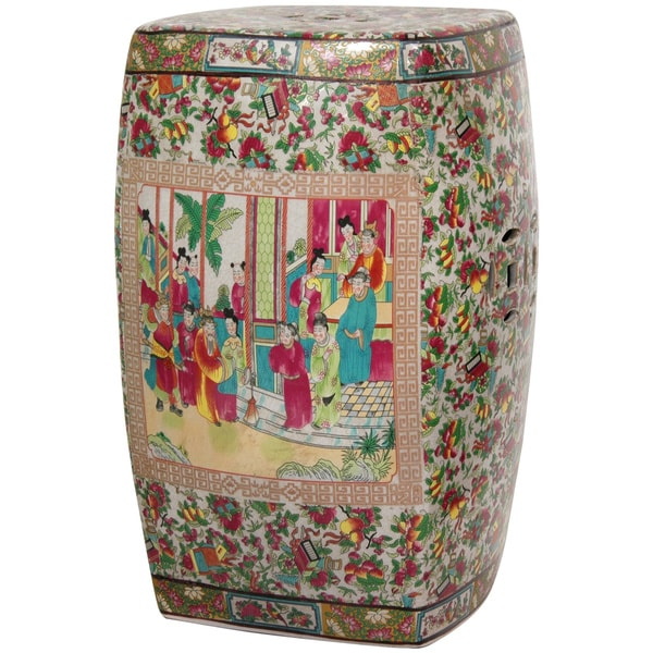 Handmade Porcelain 18-inch Rose Medallion Square Garden Stool (China)