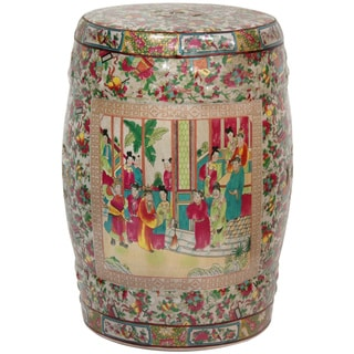 Handmade Lacquered Porcelain 18-inch Rose Medallion Garden Stool (China)