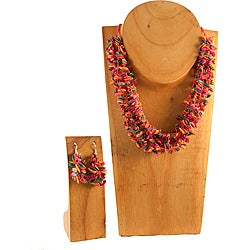 Pink Multicolor Melon Seed Necklace and Earring Set (Colombia)