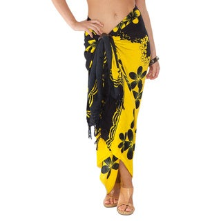 Handmade 1 World Sarongs Women's Plumeria Sarong (Indonesia)