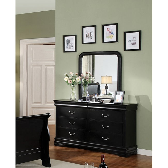 Furniture Of America Banica Black Dresser With Mirror
