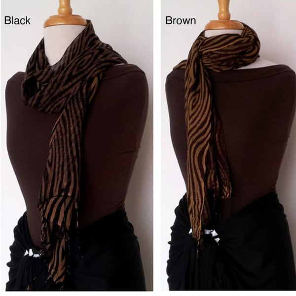 Handmade 1 World Sarongs Women's Feline Gauze Black and Brown Scarf (Indonesia)