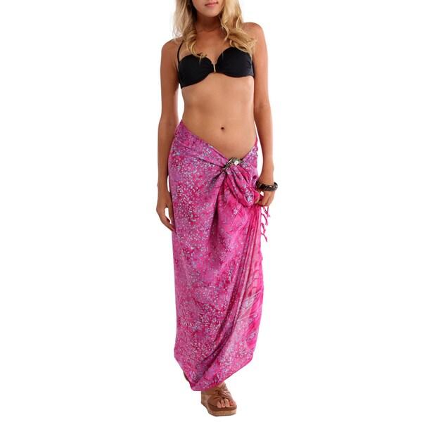 1 World Sarongs Women's Abstract Pink Sarong (Indonesia)