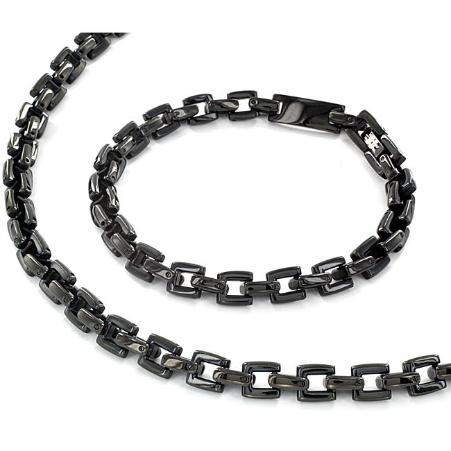 Black-plated Stainless Steel Square Design Bracelet and Necklace Set