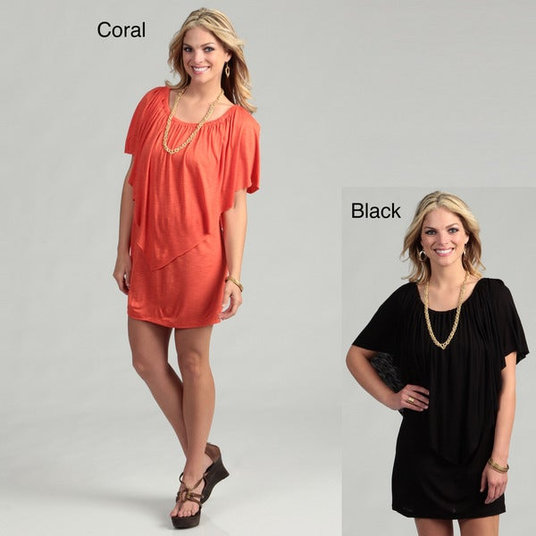 Elan Women's On/Off Shoulder Draped Overlay Dress