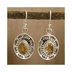 Sterling Silver 'Sun Halo' Citrine Earrings (India)