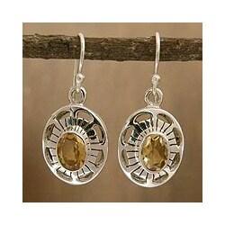Handmade Sterling Silver 'Sun Halo' Citrine Earrings (India)